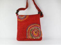 Red felt Bag  Handmade felted over shoulder bag  by FeltStream