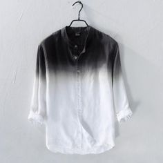 Slim Fit Men's Linen Shirt Men Gradient Shirts New Spring Fashion Chemise Homme Mens Blouse Shirts Long Sleeve Shirt Men Blouse. Mens Photoshoot Poses, Cool Outfits, Casual Outfits, Look Man, Dress Indian Style, Dye T Shirt, Mens Clothing Styles, Casual Shirts, Mens Fashion