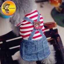 O Envio gratuito de Nova chegada da Primavera Verão Vestidos de roupas Saia vestido de cão para chihuahua teddy Filhote de Cachorro yorkie Pet roupas Jeans alishoppbrasil