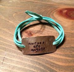 "hand stamped quote bracelet ""nurses are angels"" nurse gift, gift for nurse, thank you nurse by Bstamped, $16.00"