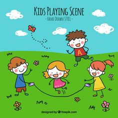 Background of hand drawn children playing in the field Free Vector