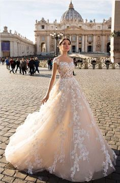Brautkleid Model 4590 · Ansicht vorne gown a line gown elegant gown romantic gown vintage gown with sleeves portraits poses flower bouquet flower bouquet white flower crown hair boho hair half up veil headpieces photography poses veil long Dream Wedding Dresses, Bridal Dresses, Wedding Gowns, Champagne Wedding Dresses, Wedding Shoot, Wedding Bride, Ombre Bridesmaid Dresses, Princess Wedding, Beautiful Gowns
