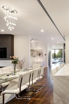 contemporary dining room | chandelier