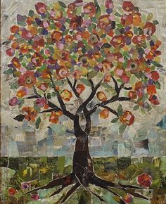 Large Tree Collage by Jane Desrosier