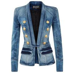 Balmain Denim Blazer ($2,910) ❤ liked on Polyvore featuring outerwear, jackets, blazers, denim jacket, balmain, balmain blazer, blazer jacket, blue jean jacket and lapel jacket