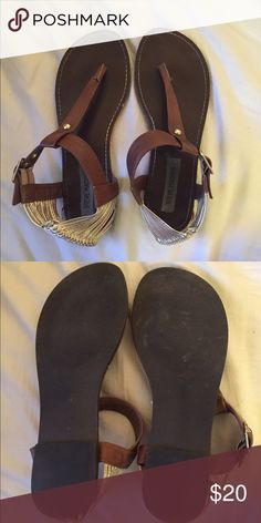 Steve Madden sandals Steve Madden sandals with gold straps around heels. Size 8, worn 1-2 times in excellent condition. Steve Madden Shoes Sandals