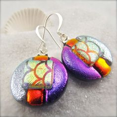 Lotus Papillon Dichroic Earrings by HanaSakuraDesigns on Etsy Dichroic Glass Jewelry, Glass Earrings, Fused Glass, Drop Earrings, Lotus, Trending Outfits, Unique Jewelry, Handmade Gifts, Vintage