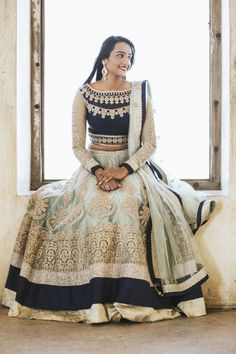 Black, mint and gold lehenga for sister of the bride