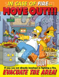 www.SafetyPoster.com - Fire Safety Posters - Simpsons S1114, $24.99 (http://www.safetyposter.com/fire-safety-poster-s1114/)