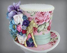 Kentucky Derby Hat Golden Horse Hat Mini Top Hats Flower