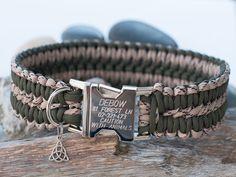 Engraved Khaki Green and Desert Camo Paracord Dog Collar
