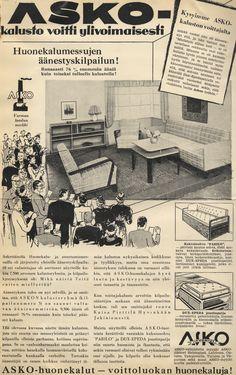 Asko-kalusto voitti ylivoimaisesti huonekalumessujen äänestyskilpailun! - Askon vanha lehtimainos vuodelta 1937