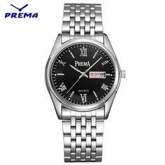 Watch Men PREMA Quartz Reloj Hombre Stainless Steel Watch Band Roman Numeral Big Dial Calendar Display Relogio Masculino #Affiliate