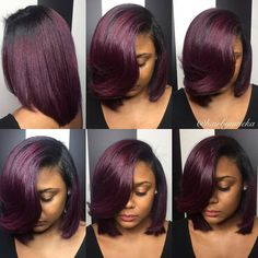 50 Best Bob Hairstyles for Black Women to Try in 2019 – Hair Adviser - Little black girl hairstyles Pressed Natural Hair, Dyed Natural Hair, Color On Natural Hair, Natural Hair Silk Press, Burgundy Natural Hair, Silk Press Hair, Natural Hair Styles For Black Women, Straight Hairstyles, Black Hairstyles
