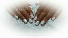Shiny white nails design