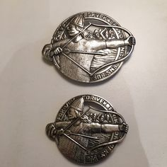 Gustav Gaudernack design for own workshop. Two differently sized silver brooches with motif from viking saga. 1910-1914