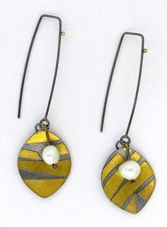 Long Tiempo Earrings: Sydney Lynch: Gold, Silver and Pearl Earrings | Artful Home