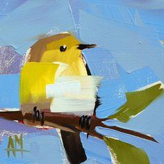 Warbler no. 34 original bird oil painting by Angela Moulton prattcreekart