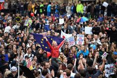 LONDON, ENGLAND - JUNE 28: Protesters demonstrate against the EU referendum result outside the Houses of Parliament on June 28, 2016 in London, England. Up to 50,000 people were expected before the event was cancelled due to safety concerns. In the early evening a crowd still converged on the square to vent their anti-Brexit feelings, before the protest moved to the Houses of Parliament. (Photo by Jeff J Mitchell/Getty Images)