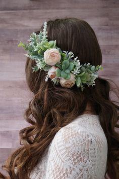 Succulent flower crown, blush peony flower headband, greenery headpiece, bridal flower crown by WelcomingGraceCrafts on Etsy