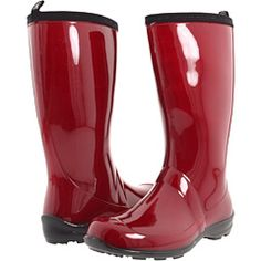 Candy apple red patent leather rain boots = :)