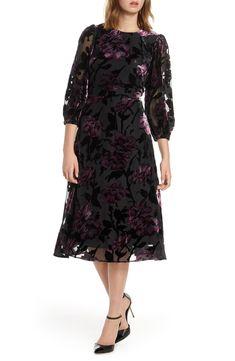 Petite Women's Eliza J Balloon Sleeve Chiffon Jacquard Dress, Size 12P - Black