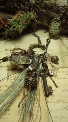 Passages Mixed Media Necklace by AlteredAlchemy on Etsy)