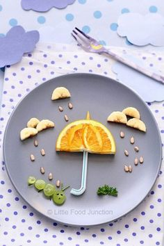 50+ Kids Food Art Lunches - Spring Rain Food Art