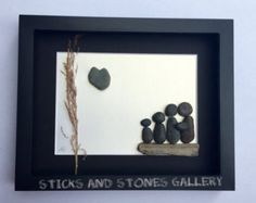 Pebble Art Family Unique Family Gift  Family of Five Gift