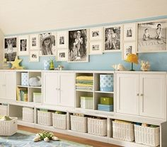 Love the combo of storage and display area and the blue and white with touches of yellow.