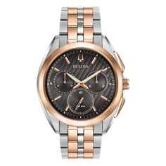 ed6068c97 Men's Bulova Curv Chronograph Two-Tone Watch with Dark Grey Dial (Model:  98A160)
