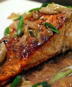 Spicy Salmon with Caramelized Onions (pan fried)