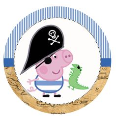 Cumple George Pig, George Pig Cake, George Pig Party, Pirate Birthday Cake, Pirate Party, Pig Birthday, Souvenirs Peppa Pig, Peppa Pig Printables, Free Printables
