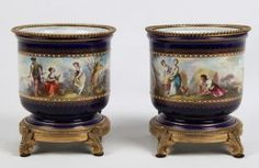 PAIR OF SEVRES COBALT AND JEWELED PORCELAIN CACHE POTS