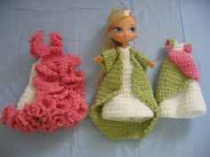 "trio of dresses for 7"" Kids Bratz doll free crochet pattern"