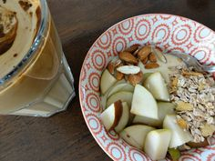 100 g fromage frais, 100 g regular vanilla yoghurt, 40 g pear,10 g almonds, 20 g cereal w/no added sugar - total 293 calories = 23% fat, 25% protein and 52% carbohydrates.