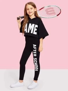 Shop Girls Letter Print One Side Leggings online. SHEIN offers Girls Letter Print One Side Leggings & more to fit your fashionable needs. Girls Fashion Clothes, Kids Outfits Girls, Cute Girl Outfits, Tween Fashion, Cute Outfits For Kids, Teen Fashion Outfits, Trendy Outfits, Girls In Leggings, Girls Pants