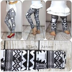 Black Aztec Print Leggings, Adult legging, girls leggings, toddler legging, baby legging, aztec legging