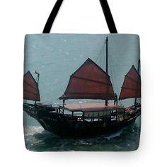 "Chinese Junk in Hong Kong Harbor Tote Bag 18"" x 18"""