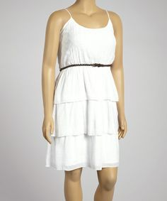 White Belted Tier Sleeveless Dress - Plus