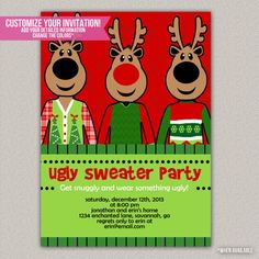Ugly Sweater Party - Tacky Sweater Christmas Party Invitation - DIY Printable Invitation on Etsy, $15.00