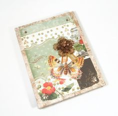 Shabby Chic Victorian Journal Coptic Stitched Blank Butterfly Embellished - pinned by pin4etsy.com