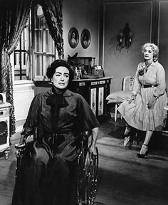 Bette Davis & Joan Crawford, These broads HATED each other! Joan Crawford may very well be the scariest woman to have graced the silver screen. Joan Crawford, Bette Davis Baby Jane, Bette Davis Eyes, Scary Movies, Old Movies, Vintage Hollywood, Classic Hollywood, I Movie, Movie Stars
