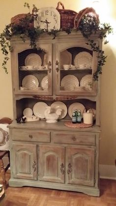 Before and After; 1980's China Cabinet to French Country Hutch ~BarrNone~