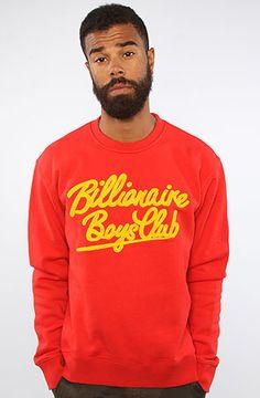 The Script Crewneck Sweatshirt in Red by Billionaire Boys Club