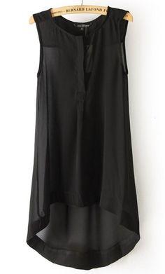 Black Sleeveless High Low Chiffon A Line Dress