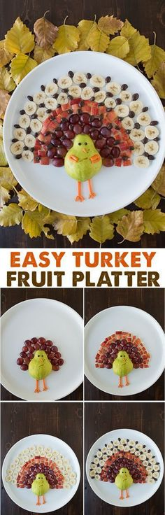 Create a healthy fruit platter for Thanksgiving in the shape of a turkey using a pear, grapes, apples, bananas, and chocolate covered raisins!