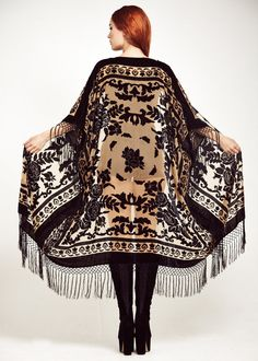 Maxi Velvet Fringe Kimono - Ivory Rose Maxi