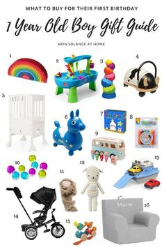 One Year Old Boy Gift Guide - arinsolangeathome : Shopping for a baby for their first birthday is overwhelming with so many options. Check out this one year old boy gift guide! Baby's First Birthday Gifts, One Year Birthday, Baby Boy First Birthday, Boy Birthday Parties, First Birthdays, 1st Birthday Presents For Boys, Birthday Photos, Birthday Ideas, Birthday Boys