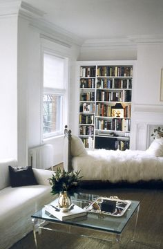 vintage daybed get's updated with a long shag cover